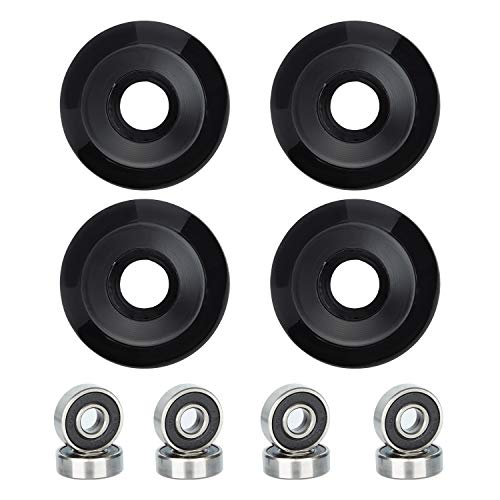 NONMON Skateboard Wheels 52x32mm 95A with ABEC-9 Bearings, Pack of 4, Solid Black