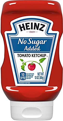 (Heinz No Sugar Added Squeezable Bottle (1-13 OZ) 75% Less than Regular Ketchup)