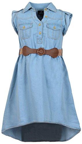 Girls Denim Dresses (dollhouse Girls' Belted Denim Peasant Dress (Toddler/Little Girl/Big Girl), Size 14/16,)