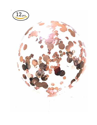 Rose Gold Confetti Transparent Balloons by SiTash 18 inch PVC 12 pcs prefilled with Rose Gold foil Paper Light Pink and White Confetti for Happy Birthday Graduation Wedding Decorations Special Events