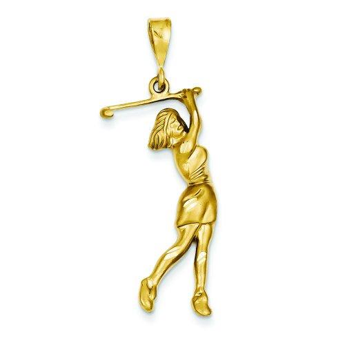 Golf 14k Gold (14K Gold Female Golfer Pendant Jewelry FindingKing)