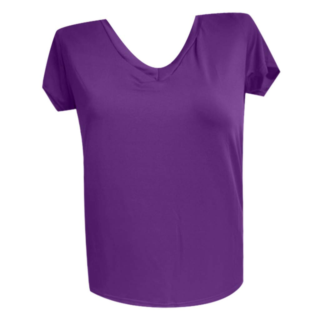 Womens Casual Loose V-Neck Short-Sleeved T-Shirt Solid Color Shirt Basic top
