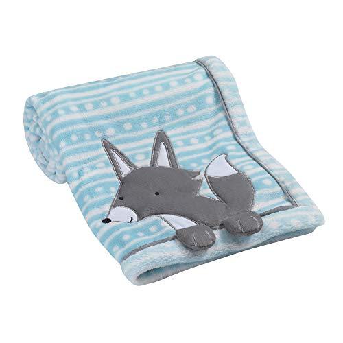 - Lambs & Ivy Aqua Blue/White Luxury Fleece Baby Blanket with Appliqued Gray Fox