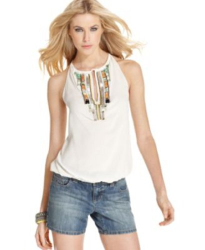 Andrew Charles Top, Sleeveless Halter-Neck Beaded Keyhole Tank Size: Large