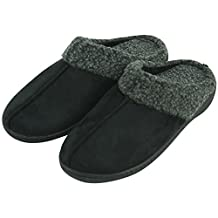 Forfoot Men's Winter Warm Memory Foam Faux Cashmere Fleece Lined Suede Slip-on Indoor House Slippers