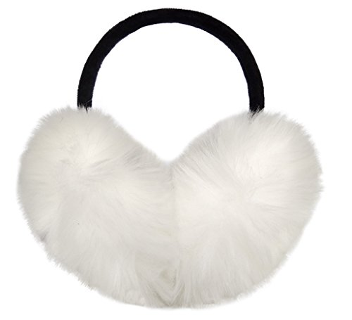 LETHMIK Women's Faux Fur Foldable Big Earmuffs Winter Outdoor Ear Warmers White White Earmuffs