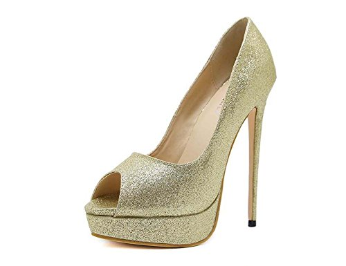 Women Pump 15cm Stiletto 4cm Thick Platform Peep Toe Dress Shoes Wedding Shoes Charming Pure Color Sequins Bling Party Shoes Eu Size 34-40 ( Color : Gold , Size : 38 )