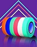 SCIONE Glow in The Dark Tape (6pack) (6 Colors) 33ft Masking Tape UV Blacklight Reactive Kids Craft Set 6 Pack 33ft Fluorescent Cloth Tape Assorted Color Coded & Fun DIY Art Party Supplies