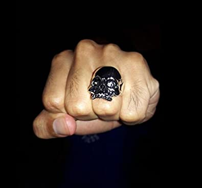 Men's Biker Rings Vintage Motorcycle Pinky Skull Mask Rings R350