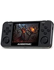 Retro Game Console Anbernic RG351MP 64 GB met 2500 Spellen, Externe wifi-functie, Spelcomputer Console stand-by PSP, NDS, DC, RK3326 Quad core 1.5GHz, Aluminium Legering Handheld Game Console(zwart)