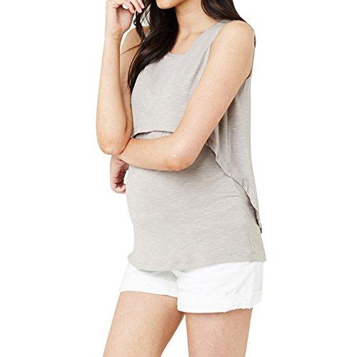Allattamento Senza Casual Grey Comoda ELEKIKIL Shirt Donna Maniche Doppi Gravidanza Tinta Estive Loose Moda Popolare Maglietta Unita Bluse Girocollo Canotta T Top Strati w00XqaxB