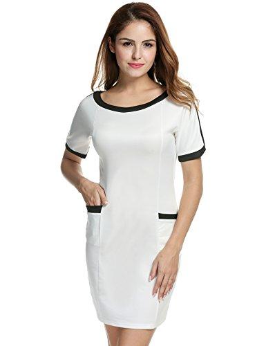18b1f935638d3b Acevog Damen Bleistiftkleid Businesskleid Etuikleid Shirtkleid Elegant  Rundhals Basic Knielang Kleid mit Taschen Tunika SXXL