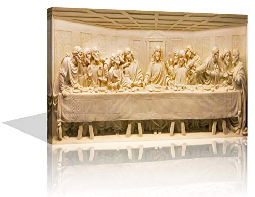 House Decorations Living Room Christian Pictures for Wall The Last Supper Paintings on Canvas Santa Cena de Jesus Cuadro Wall Art Modern Artwork Home Decor Framed Stretched Ready to Hang(16''x24'')