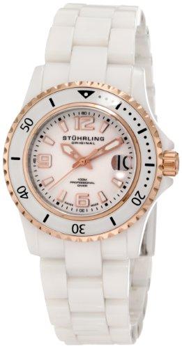 Stuhrling Original Women's 272.11EP29 Leisure Ceramic Belladonna Swiss Quartz Professional Diver Two-Tone Ceramic Watch