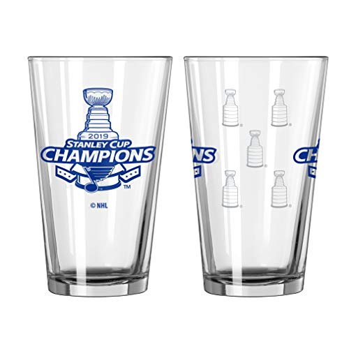 St. Louis Blues Glass Pint Satin Etch 2019 Stanley Cup Champs