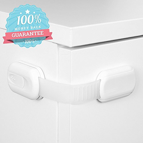 6 Pack Adjustable Baby Safety Locks for Drawers, Doors, Cabinets, Toilet Seats - No Tools, No Drills - Available in 3 Colors: White, Black, & Brown - By CareMe (Garbage Can Lid Lock compare prices)