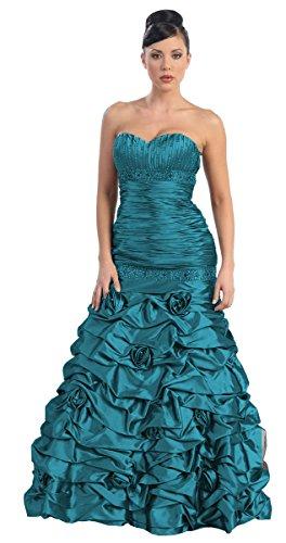 lang Teal Abendkleid Abschlussball Petrol Hochzeitsgast Ballkleid Satin Abiballkleid Kleid Brautjungfernkleid dO6PSa