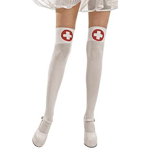 White Thigh-High Sheer Nurse Halloween Adult Women's Cosplay Costume Tights