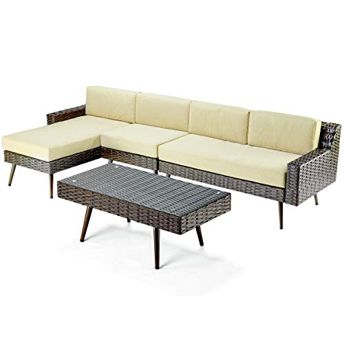 Pamapic 4 Piece Furniture, All Weather Mix Grey PE Rattan Wicker Chair Sets with Washable Seat Cushions & Tempered Glass Table, Indoor/Outdoor Use Patio, Backyard, Longue, Brown For Sale