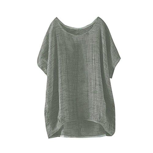 iDWZA Women Pure Color Bat Short Sleeve Top Thin Section Blouse T-Shirt Pullover(5XL,Green)