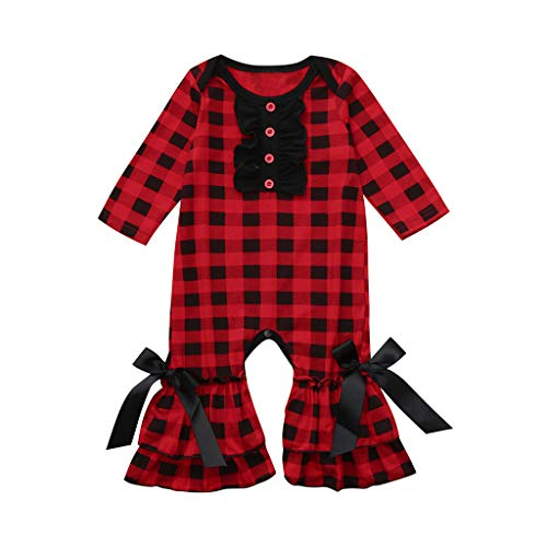 Sameno Toddler Infant Baby Girls Simple Plaid Print Jumpsuit Ruffles Ruched Romper Outfits (6-12 Months, Red) ()