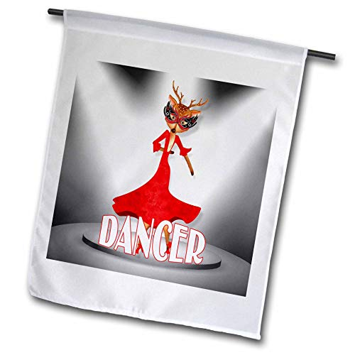 3dRose Doreen Erhardt Christmas Collection - Dancer The Latin Champion Reindeer on Stage Christmas Caricature - 12 x 18 inch Garden Flag (fl_290901_1) ()
