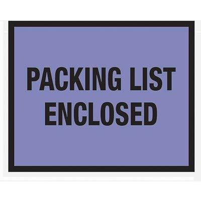 Packing List Envelopes 7 x 5-1/2, Blue Full Face Packing List Enclosed - 1000/Carton (1 Carton)