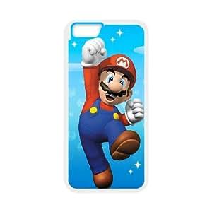 iPhone 6 más la caja de 5,5 pulgadas Cubiertas Blanca Super Mario Bros personalizada Diseño Caja del teléfono J5E4UL