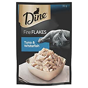 DINE Fine Flakes Tuna and Whitefish Wet Cat Food 35g, 12 Pack