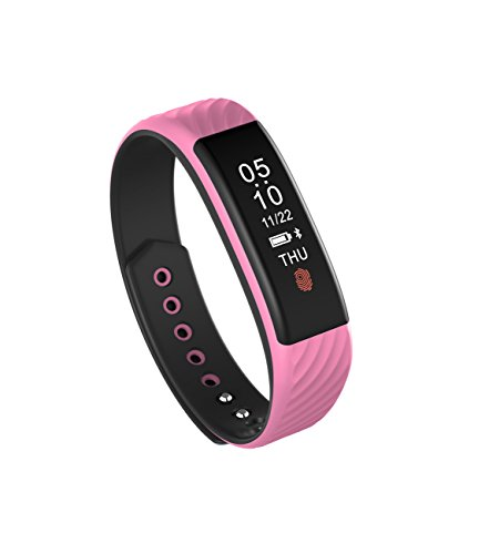 TORTOYO W810 Smart Bracelet Pedometer Band Heart Rate Monitor Sports Tracking Touch Smartband for iPhone Android iOS Smartphone (Pink)
