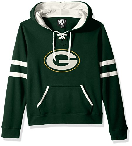 (NFL Green Bay Packers Women's OTS Grant Lace Up Pullover Hood, Dark Green, Large)