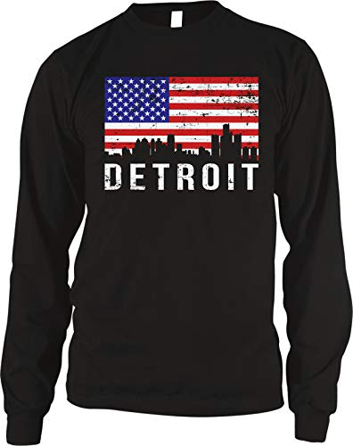 - Amdesco Men's Detroit Skyline American Flag Thermal Shirt, Black Small