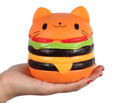 "Anboor 4.5"" Squishies Jumbo Slow Rising Kawaii Squishies Cat Hamburger Bread Toy for Collection Gift"