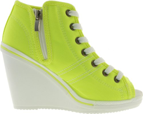 Canvas Toe Shoes Wedge Maxstar Zipper Heels 777 Side Green Open aPnvwqxfTB