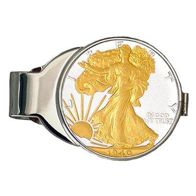 24k Gold Plated Pure Silver Walking Liberty Half Dollar M...
