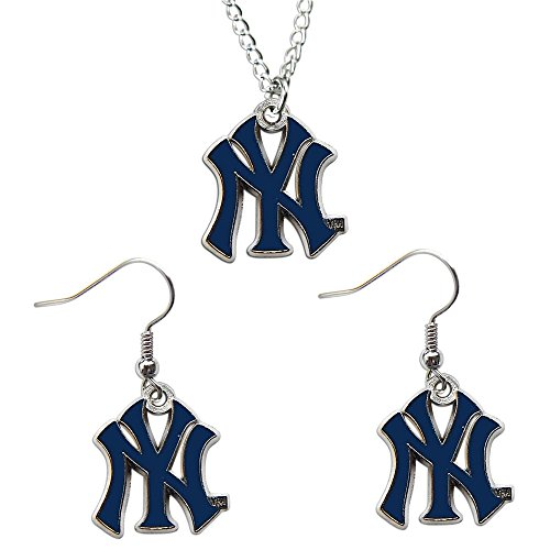 Logo Team Necklace - New York Yankees Necklace & Dangle Earrings Set Charm NY