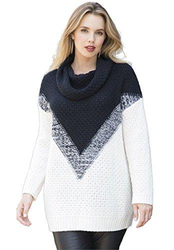 Women's Plus Size Ombre Marl Pattern Sweater – Small, Black-ivory