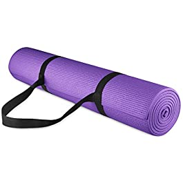 BalanceFrom GoYoga All Purpose High Density Non-Slip Exercise Yoga Mat with Carrying Strap, 1/4″, Purple