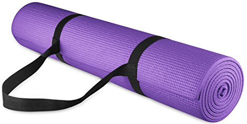 "BalanceFrom GoYoga All Purpose High Density Non-Slip Exercise Yoga Mat with Carrying Strap, 1/4"", Purple"