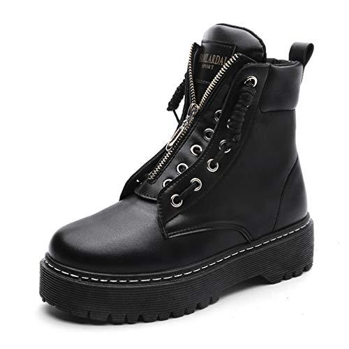 Women's Fashion Zipper Platform Ankle Boots Punk High-top Martin Booties Comfort Walking Sneakers Black