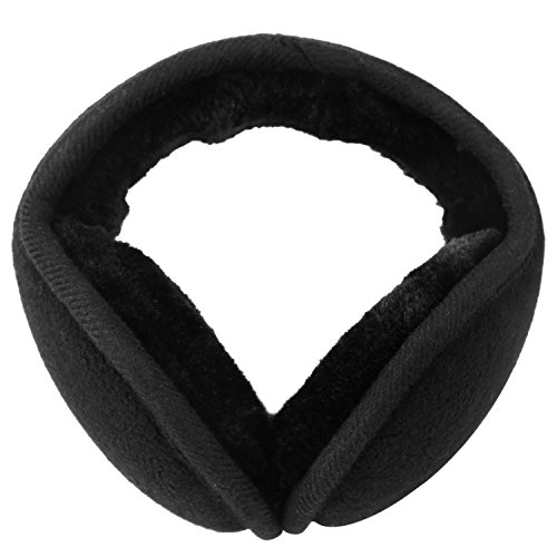 Ladies Black Classic Fleece - Mocofo  Classic Fleece Ear Muffs  Collapsible   Behind-The-Head Ear Warmers for Women and Men (Black)