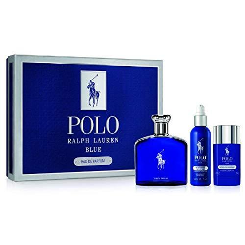 Polo Blue By Ralph Lauren Eau De Parfum for Men 3 Pc Gift Set