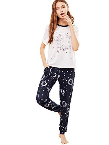 Galaxy Pajama Pants (DIDK Women's Galaxy Print Tee and Sweatpants Pajama Set White & Navy L)
