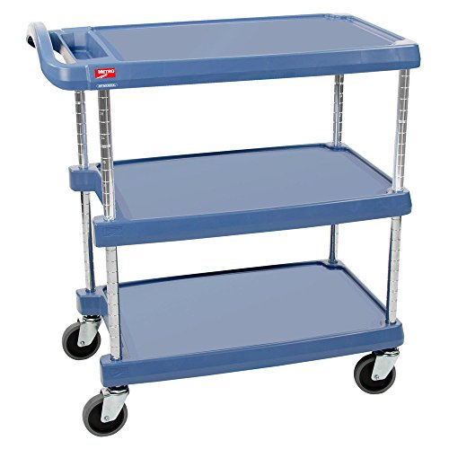 Antimicrobial Product Protection - InterMetro Industries MY1627-34BU Mycart Series Blue Polymer Utility Cart with Built-in Microban Antimicrobial Product Protection, 3 Shelf, 35.38 X 31.44 X 18.31-Inch