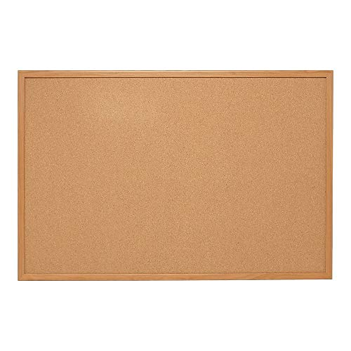 Staples Standard Cork Bulletin Board, Oak Finish Frame, 2'W x 1.5'H