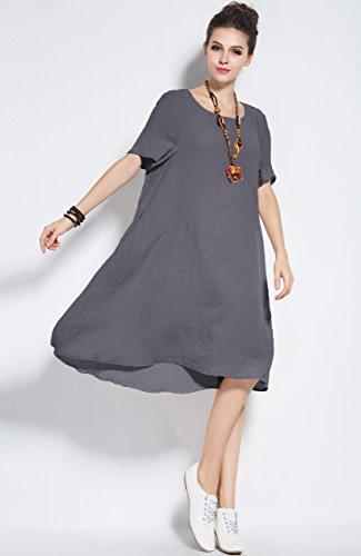 94121984aaeb Anysize Fresh Spring Summer Linen Cotton Dress Plus Size Clothing Y74