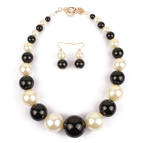 Radtengle Faux Pearls Bridal Wedding Necklace and Dangle Earrings Jewelry Set for Women Girls Black White