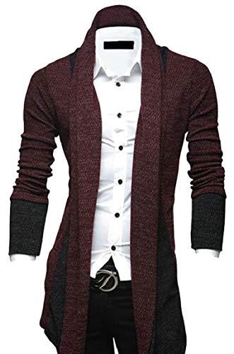 [해외]야 유 맨 즈 롱 라인 숄 칼라 오픈 프론트 드 레이프 카디 건 스웨터 / Yayu Men Longline Shawl Collar Open Front Draped Cardigan Sweater