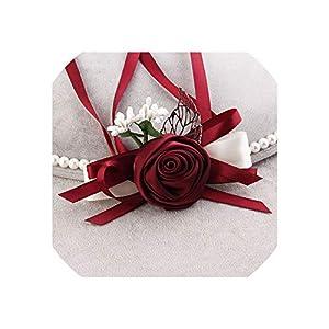 alerghrg Wrist Corsage Bridesmaid Flower Wrist Corsage Mariage Bracelet Corsages 66