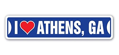 I LOVE ATHENS, GEORGIA Street Sign Ga City State Us Wall Road DÃcor Gift - 22'' Long Sticker Graphic - Auto, Wall, Laptop, Cell Sticker (Ga Us Athens)